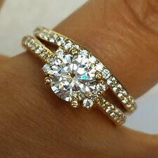 1.35 C 14k yellow Gold 2 piece solitaire round Engagement Wedding Ring Set s 7