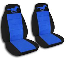 2 Black & Medium Blue Horse Seat Covers for a Ford Mustang 2005-2007  ABF