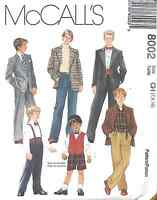 8002 UNCUT McCalls SEWING Pattern Little Boys Lined Jacket Pants Bow Tie Suit FF