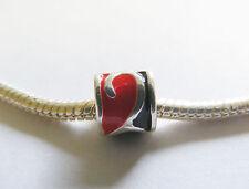 Silver Plated Red Black Enamel  Charm Bead for Charm Bracelet
