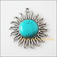 1 New Retro Charms Tibetan Silver Turquoise Sun Flower Pendants 42.5x46mm
