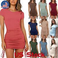 Womens Crew Neck Stretchy Bodycon T Shirt Short Mini Dress Short Sleeve Dresses