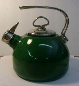 Vintage CHANTAL Teakettle Tea Kettle Enamel on Steel Green Whistling W Germany