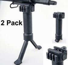 2PCS Vertical Rifle Grip Quick Release Bi-Pod Grip w/Side Rail Picatinny Rail