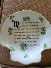 Shell Shaped Candy Dish With Irish Blessing ~ Euc