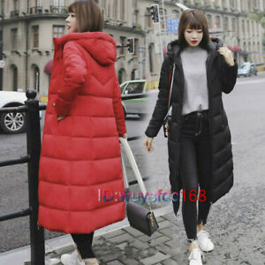 Womens Ladies Long Winter Coat Padded Quilted Puffa Jacket Warm Hooded Plus Size