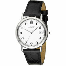 Accurist Gents White Dial Leather Strap Watch MS708WA RRP £50