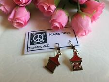 Silvertone Japanese House Minka Red and Brown Dangle Earrings