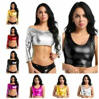 Womens Shiny Metallic Slim Tube Top Vest Crop Top Tank Tops T-Shirt Blouse Shirt
