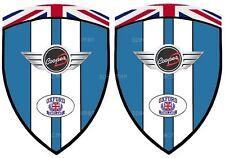 2 adhésifs stickers MINI COOPER S LAZER BLUE  ( idéal pour ailes avant )