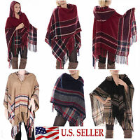 Oversized Open Front Check Hooded Wrap Poncho with Tassels