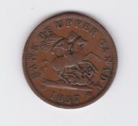 1857 Bank of Upper Canada One Penny Bank Token X-15