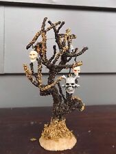 Spooky Town Lemax Halloween House Deco Scary Dying Elm Treew/ Skulls Accessory