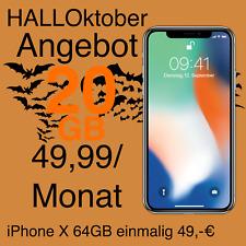 Apple iPhone X 64GB mit Vertrag Handyvertrag 49,99 mtl. 20GB Internet Flat