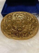 Vintage crumrine Floral brass Belt buckle Women's western U.S. Made Rare Paisl
