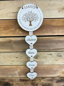 Personalised White Family Where Life Begins Heart New Home Housewarming Gift