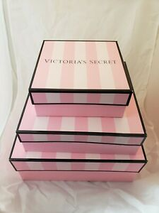 "VICTORIA'S SECRET STRIPED PINK GIFT BOX Small or Medium or Large ""FREE SHIPPING"""