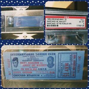 1953 ROCKY MARCIANO vs JOE WALCOTT PSA 6 Pop 3- 1 Higher! PSA 7 Boxing Ticket