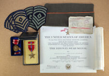 Military Grouping Korean War 1953 Bronze Star Medal w/ Box, Paperwork, Patches