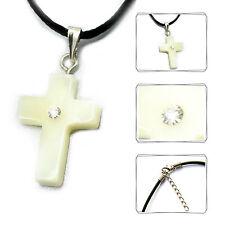 Pendentif pour collier croix bracelet en cuir noir 45 cm NACRE femmes hommes
