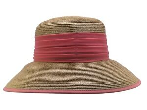 C.C Women's Packable Wide Brim Paper Straw Floppy Hat SPF50 Protection Bow Ribbo
