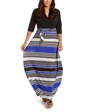Surplice Maxi Dress Size UK 14 Ladies Long Royal Blue & Black Striped NEW #B-442