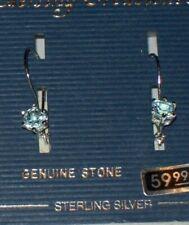 !! NEW !!  STERLING SILVER BLUE TOPAZ EARRINGS - BEAUTIFUL !! - Round