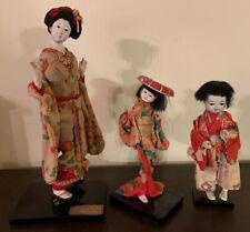 Nice 3 Doll Lot Japanese Vintage Gofun Silk Kimono Geisha