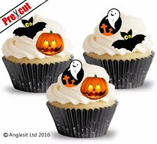 36 X PRE-CUT HALLOWEEN MIX EDIBLE WAFER PAPER CUP CAKE TOPPERS DECORATIONS