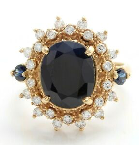 5.39 Carat Natural Blue Sapphire and Diamond in 14K Solid Yellow Gold