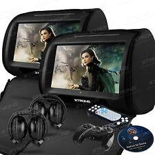 """Xtrons 2x Black Car Headrest DVD Player 9"""" HD Touchscreen Game Disc IR Headphone"""