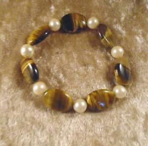 "7"" Tiger Eye Oval Coin Bead & Simulated Pearl Bracelet"
