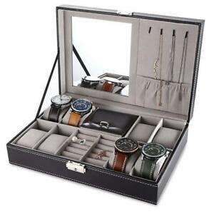 Jewelry Box with Lock Men Women Mirror Watch Rings Organizer Storage Leather