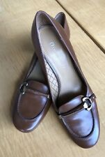 """Etienne Aigner,Brown Leather2 1/2""""  Heel Pumps with Brass Trim, Size 71/2 M"""