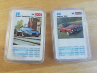 Set of 2 x vintage cars card game, similar to top trumps, classic cars