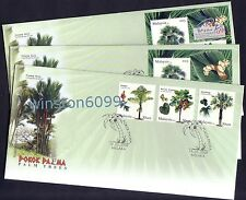 2009 Malaysia Palm Trees (3v + 2 Mini-Sheets incl PhilaKorea Overprint) on 3 FDC