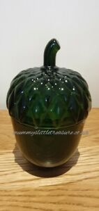 Green Glass  Acorn Shape Spiced Woods Scented Candle