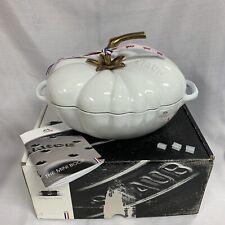 New listing Rare Staub Tomato Cocotte 3 Qt Cast Iron Dutch Oven 2.9L France White 25cm ~ Nib