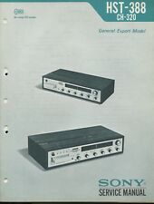 Sony HST-388 8 Track Stereo Receiver Original Service Manual & Supplement
