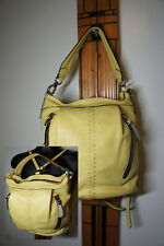 OryYany Pebbled Yellow Leather Convertible Purse Shoulder Bag Backpack GORGEOUS