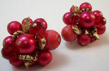 Clip On Earrings * Vintage Vendome Pink Beaded Cluster