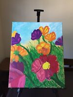 """Original Hand painted Acrylic Painting on canvas  20""""x16""""- Flowers In The Garden"""