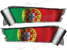 Pair Rolled Back Ripped torn Metal Effect Portugal Flag  Vinyl Car Stickers