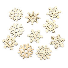 Christmas Gift 10Pcs Assorted Wooden Snowflake Xmas Tree Hanging Ornament Decor