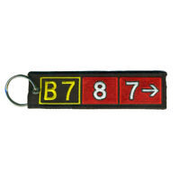 Boeing 787 Airport Taxiway Sign Embroidered Keychain. Aviation Airplane Gift.