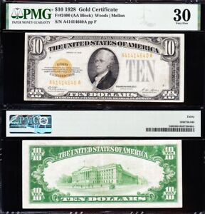 AWESOME Crisp Choice VF++ 1928 $10 GOLD CERTIFICATE! PMG 30! FREE SHIP! 14640A