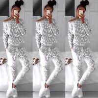 Women Fitness Tracksuit Loose Fit Sweatshirt Tops + Pants Set Jogging Sport Suit