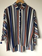 NEW LOOK UK8-12 Striped Shirt Smart Office Knot Oversized Design Collared