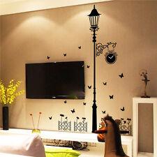 Cute Clock Street Lamp Post Butterfly Decal Sticker Wall Art DIY Mural For Home