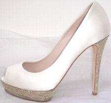 LE SILLA Bridal White Satin Gold Crystal Jeweled Peep Toe Shoes 37